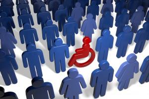 Rollstuhlfahrer in Menschengruppe