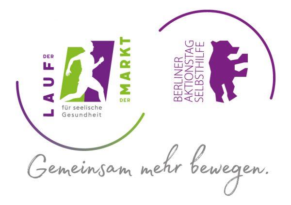 Die Logos der beiden Veranstaltung: Lauf und Mark für seelische Gesundheit und Berliner Aktionstag Selbsthilfe